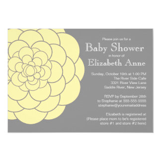 Yellow Dahlia Bloom Floral Neutral  Baby Shower Card