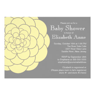 Yellow Dahlia Bloom Floral Neutral Baby Shower Personalized Announcement