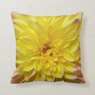 Yellow dahlia flower blossoms throw pillow