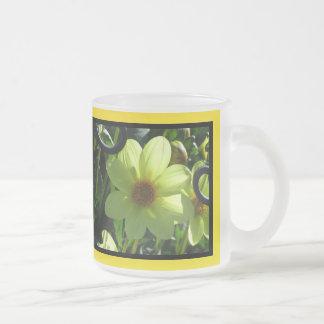 Yellow Dahlia Flower Frosted Glass Coffee Mug