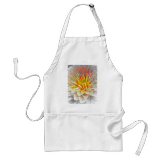 Yellow Dahlia Flower Pencil Sketch Adult Apron