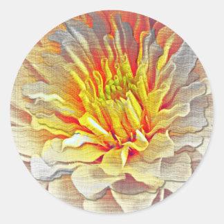 Yellow Dahlia Flower Pencil Sketch Classic Round Sticker