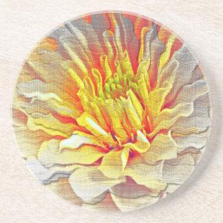 Yellow Dahlia Flower Pencil Sketch Drink Coaster