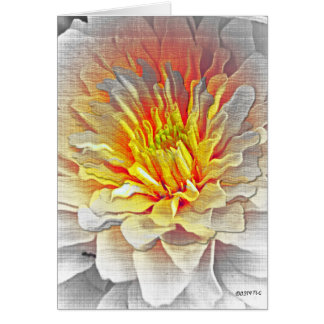 Yellow Dahlia Flower Pencil Sketch Greeting Card