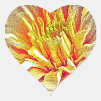 Yellow Dahlia Flower Pencil Sketch Heart Sticker