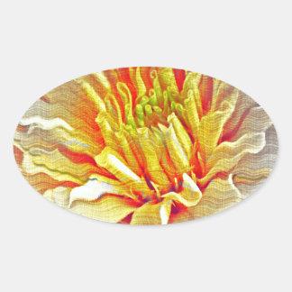 Yellow Dahlia Flower Pencil Sketch Oval Sticker