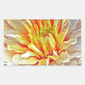 Yellow Dahlia Flower Pencil Sketch Rectangular Sticker