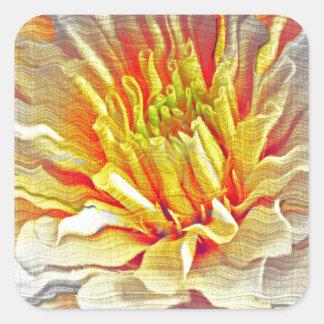Yellow Dahlia Flower Pencil Sketch Square Sticker