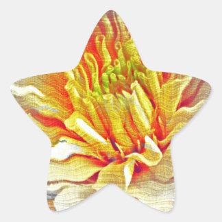 Yellow Dahlia Flower Pencil Sketch Star Sticker