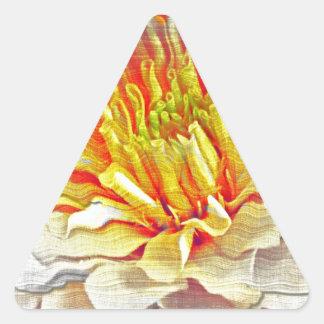 Yellow Dahlia Flower Pencil Sketch Triangle Sticker