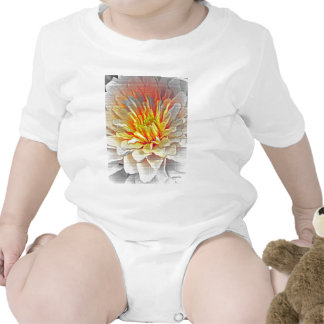 Yellow Dahlia Flower Pencil Sketch Rompers