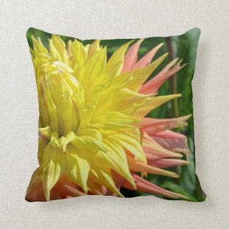 Yellow dahlia flower print throw pillow