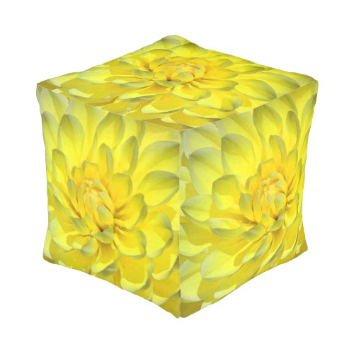 Yellow Dahlias (Customizable) Cube Pouf