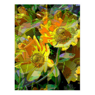 Yellow Daises by jaggededgecustoms Postcard
