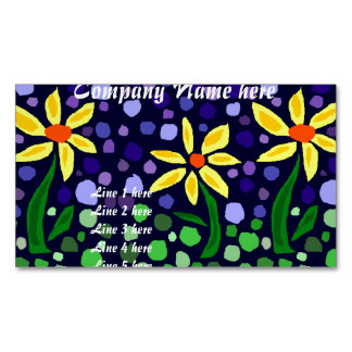 Yellow Daisies Abstract Magnetic Business Cards