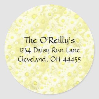 Yellow Daisies Address Labels Classic Round Sticker