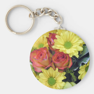 Yellow Daisies and Red Roses Keychain