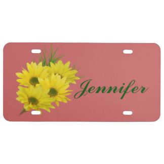 Yellow Daisies, Customizable Name License Plate
