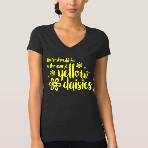 Yellow Daisies Dark Gray V_Neck Tee