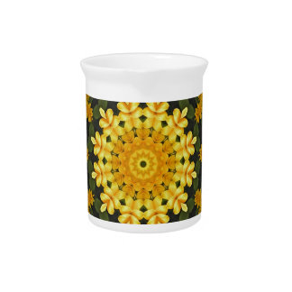 Yellow daisies, Floral mandala-style Drink Pitcher