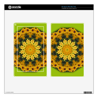 Yellow daisies, Floral mandala-style Skin For Kindle Fire