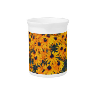 Yellow Daisies Flower-lovers Floral Art Drink Pitcher