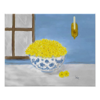 Yellow Daisies in a Blue and White Bowl Poster