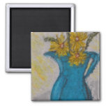 Yellow Daisies in a Blue Jug Magnet