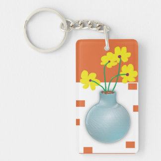 Yellow Daisies in a Blue Vase Keychain