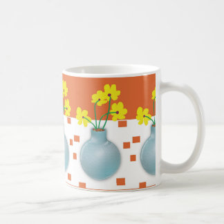 Yellow Daisies in a Blue Vase Coffee Mug
