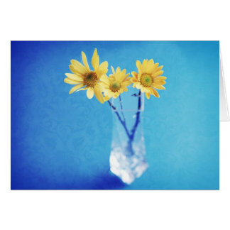 Yellow Daisies on Blue with Brocade Pattern Card