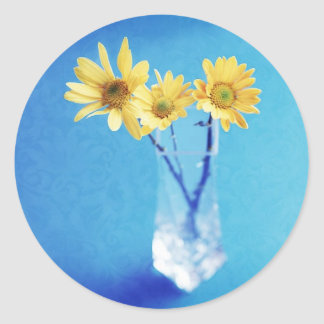 Yellow Daisies on Blue with Brocade Pattern Classic Round Sticker