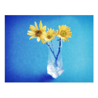 Yellow Daisies on Blue with Brocade Pattern Postcard