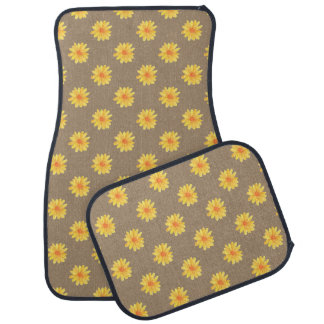 Yellow Daisies on Faux Kraft Paper Car Mat