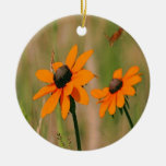 Yellow Daisies Double-Sided Ceramic Round Christmas Ornament