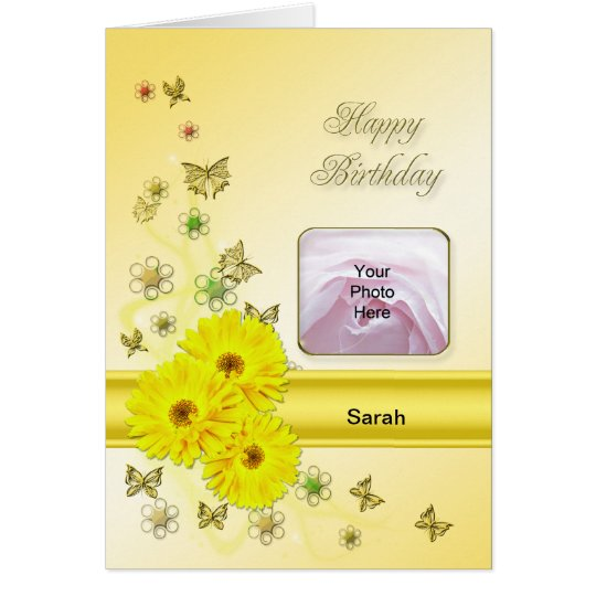 Yellow daisies Photo Card for a birthday