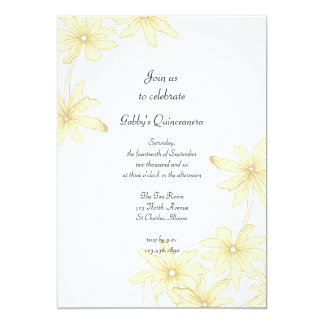 "Yellow Daisies Quinceanera Party Invitation 5"" X 7"" Invitation Card"