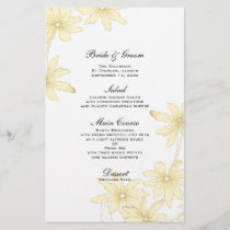 Yellow Daisies Wedding Menu