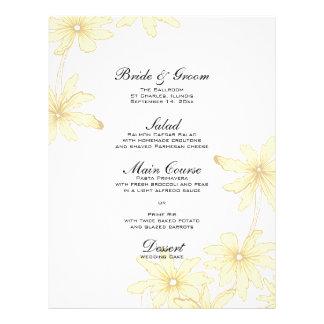 Yellow Daisies Wedding Menu Full Color Flyer