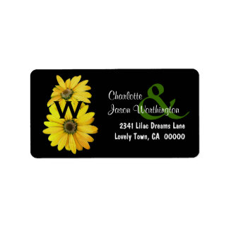 Yellow Daisies Wedding Monogram B463 Label
