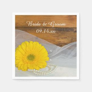 Yellow Daisy and Bridal Veil Country Barn Wedding Paper Napkin