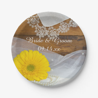 Yellow Daisy and Lace Country Barn Wedding Paper Plate