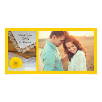 Yellow Daisy and Lace Country Wedding Thank You Card