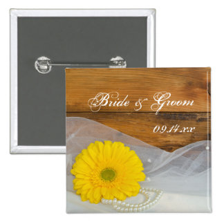 Yellow Daisy and Pearls Country Barn Wedding Button