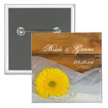 Yellow Daisy and Pearls Country Wedding Button