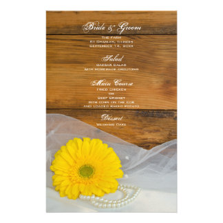 Yellow Daisy and Pearls Country Wedding Menu Custom Stationery