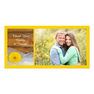 Yellow Daisy and Veil Country Wedding Thank You Card