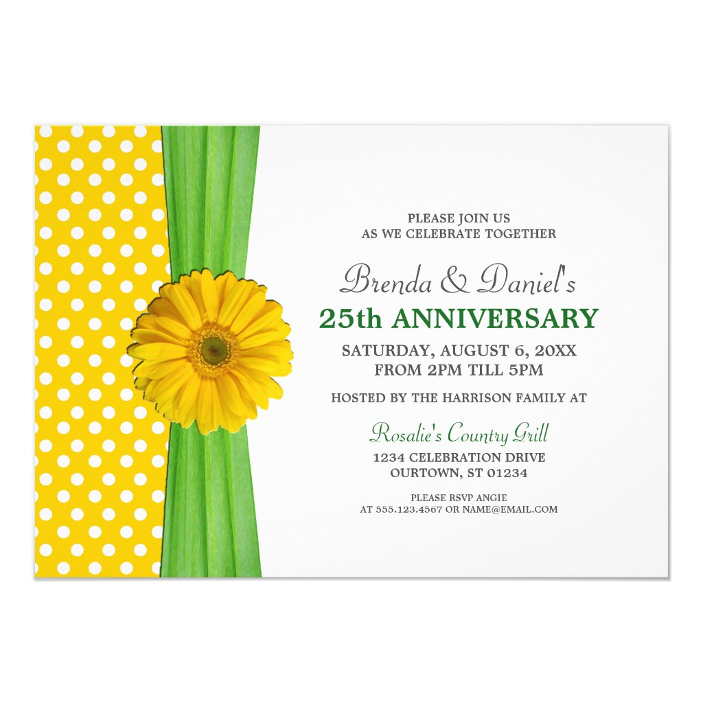 Yellow Daisy Anniversary Party Invitation