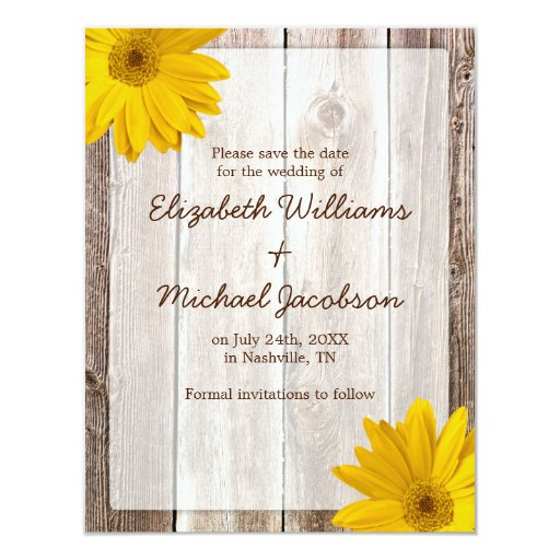 Yellow Daisy Barn Wood Save the Date Announcement