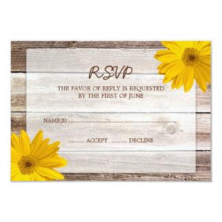 Yellow Daisy Barn Wood Wedding RSVP Response Card